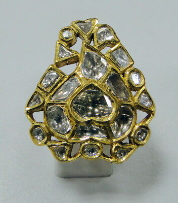 Vintage 20 Ct gold diamond triangle shape ring kundan meena work Jewellery