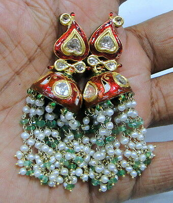 Vintage antique 20K gold diamond polki earrings kundan meena jewelry jewellery