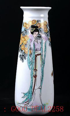 Chinese Porcelain Hand-painted The beauty Vase W Qianlong Mark CQQT10