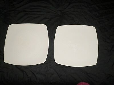 2 x M&S Andante Square Dinner plates_WHITE_Used