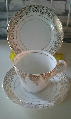 Vintage Stanley Bone China - Gold Chintz - Trio of Tea Cup, Saucer & Side Plate
