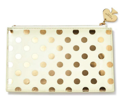 Kate Spade Pencil Supply Pouch - Gold Dot Print - Brand New