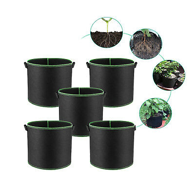 5-Pack Black/Green Grow Bags Aeration Fabric Planter Root Growing Pots w/Handles