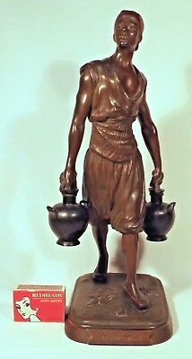 1880's French Bronze Figure Nth. African Water Carrier Signed Jean-Didier Debut