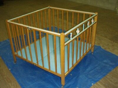 VINTAGE Folding Wooden Playpen on wheels (Abbott)