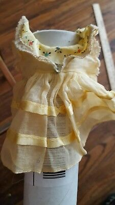 Vintage Yellow Dress With Flowers Clothing Doll