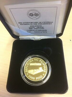 Philippines Gold 5000 Piso 1999 50Th Anniversary Of The Central Bank - Pesos