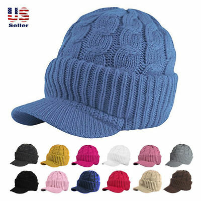6dd28aa5 Unisex Chunky Cable Knit Visor Brim Winter Hat Beanie Thick Warm Men Women  hat