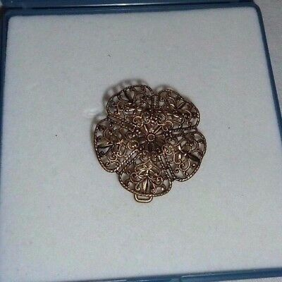 Vintage Brass tone intricate small flower design belt buckle