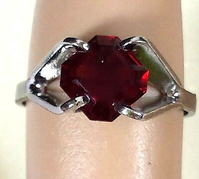 Vintage Jewelry Sterling Silver 925 Ring Red Glass Rhinestone Sz.6 Beautiful#...