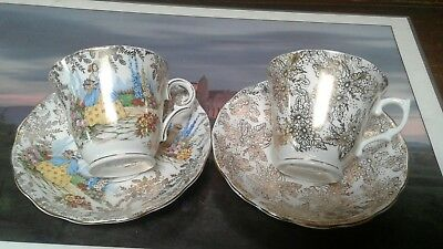 2 Colclough China Made in Longton England Tea Cups & Saucers Heavy Gold Pattern