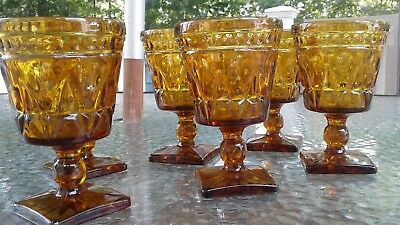 Set of 6 Vintage 1950s Indiana Glass Colony Park Lane Footed Amber Goblets