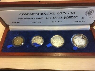 Philippines Silver Set 1000 500 100 5 Piso 1994 50Th Anniversary Leyte Landings