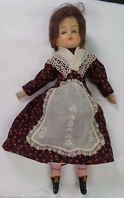 Antique Wax Doll With Black Boots & Mohair Wig