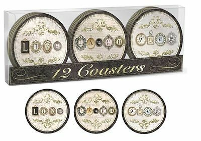 Punch Studio Everyday Decorative Boxed Dining Coasters – Charming 46102