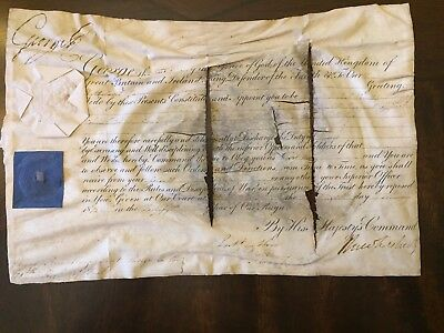 George III Hand Signed British Commission, Vellum, Official Seal