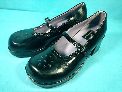 "lc Vintage Girls Shoes Dressy Black 1 1/2"" Heels Curfew Size 2"
