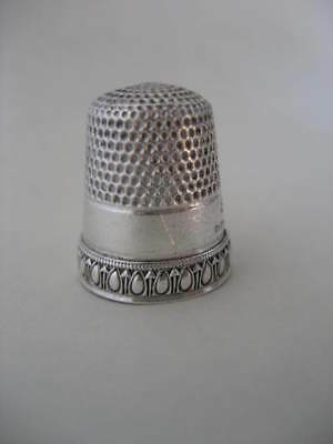 Antique Simons Priscilla Sterling Siver Thimble #9 Pat May 31 1898