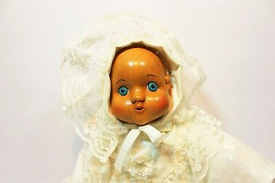 """Robert Raikes  Wood Baby Doll with Gorgeous Christening Gown 1989  """"Juliet"""" 14"""""""