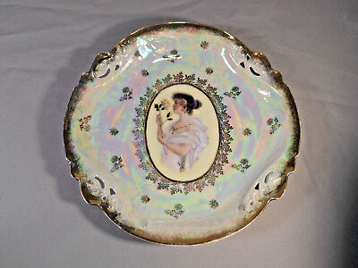 ES Germany Prov Saxe Handpainted Reticulated Portrait Plate woman w. rose gilt