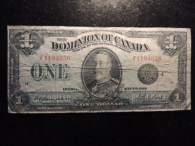 1923 DOMINION OF CANADA $1 ONE DOLLAR DC-25o CLARK BLACK SEAL GROUP 4 F 1194056