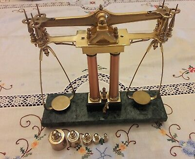 Vintage Brass and Marble Weighted Scale w weights Jewelers Equal Arm Beam Scale