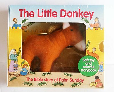 The Little Donkey Book with Soft Toy - Bible Story of Palm Sunday -  New