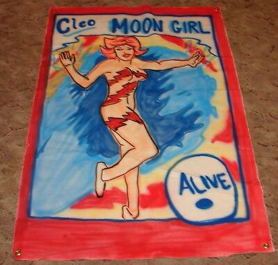 Sideshow Banner Cleo Moon Girl Canvas Circus Poster Side Show Gaff Prop