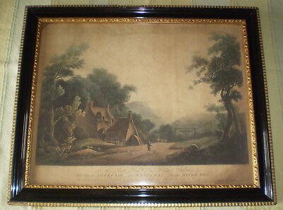 ANTIQUE HOGARTH PICTURE FRAME WELSH PRINT - ACREFAIR nr WYNNSTAY WALMSLEY/JUKES