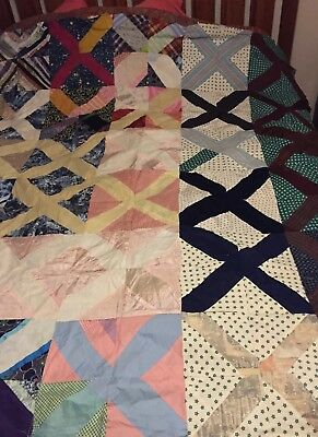 RARE Dated1957 Patchwork Quilt TOPPER~Full~heirloom with Newspaper backing~EXC!