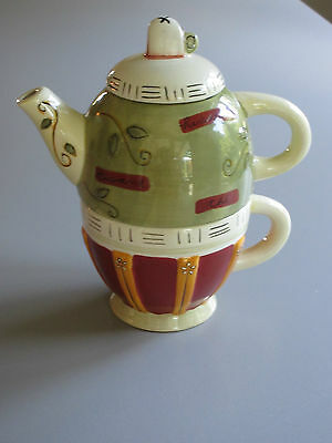 Tea / Tisane for One Set : Stacking Teapot & 10on. Cup  Sage Green / Cocoa color