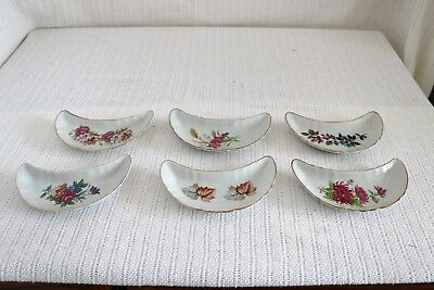 Unknown Manufacture Floral Flowers Bone Dishes Crescent Shape (6)