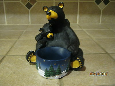 "Bearfoots Bears by Jeff Fleming ""Light My Fire"" Candle Holder, Big Sky Carvers"