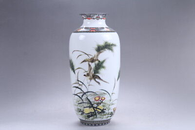 Exquisite Chinese painting bird Vase qianlong mark hp286