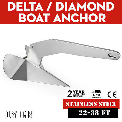 Delta / Diamond Boat Anchor 17LB Non-hinged plow 22-38ft 316 Stainless Steel