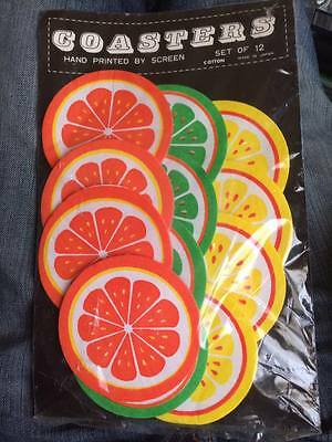 Vintage Hand Screened cotton  citrus coasters set of 12