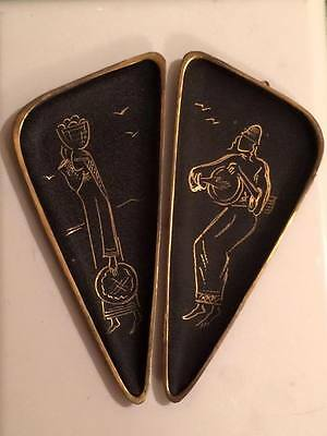Pair of Oppenhiem hand engraved brass plaques  Made in Israel mid century art