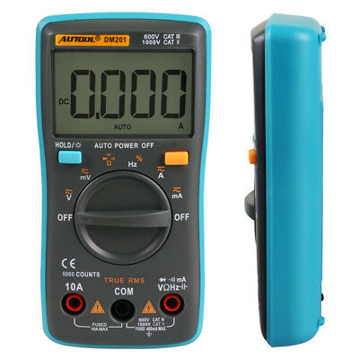DM201 Autorang Digital Multimeter Tester 6000 Counts AC/DC Ammeter Voltmeter