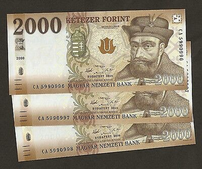 2016 Hungary 2000 Forint Uncirculated # PNew