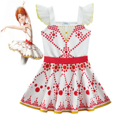 US STOCK  Kids Girls Movie Ballerina Leap! Felicie Dress Costume Tutu Skirt K100