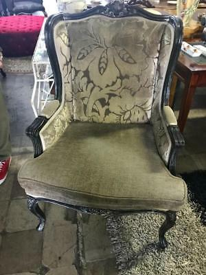 French Louis Style Carved Mahogany Wingback Armchair.. Reupholstered
