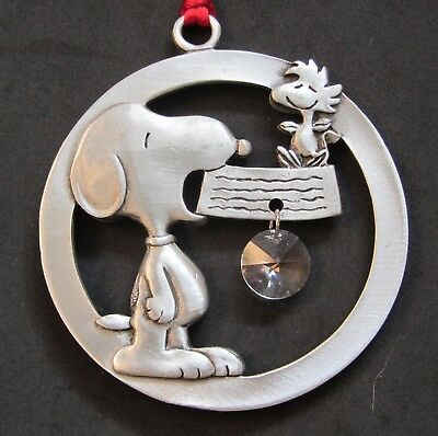 Snoopy Peanuts Dog Dish Crystal Seagull PEWTER Christmas Ornament Woodstock