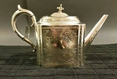 Joseph Ridge & co, Sheffield Silver plate Teapot 1881 - 1886 antique vintage