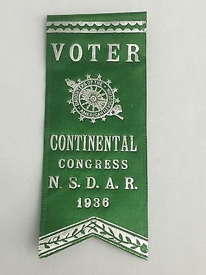 Vintage Ribbon Daughters of The American Revolution Continental Congress 1936