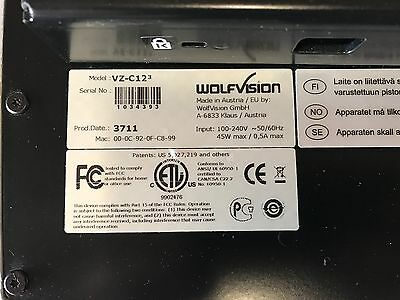 WolfVision VZ-C12-3 Ceiling Visualizer Document Projector
