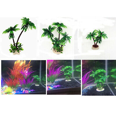 Beach  Palm Tree Aquarium Ornament Fish Tank Decoration Toy 3 Size