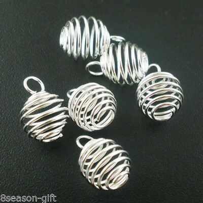 100 PCs Silver Plated Spring Bead Cages Pendants 8x9mm