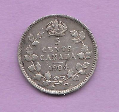 1904 Canada 5 cent silver -lots of detail  inv#7067