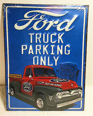 New Ford Truck Parking Only Vintage Style Metal Embossed Raised Letter Sign