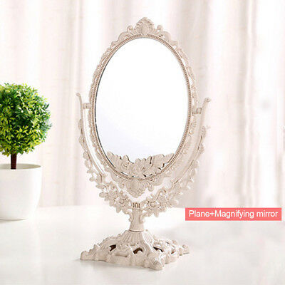 European Style Retro Makeup Double Sided Mirror Table Standing Oval/Round Mirror